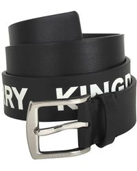 Burberry Kingdom Print Leather Belt In Black