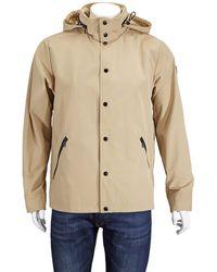 Moncler Mens Rance Logo Print Hooded Jacket In Beige - Natural