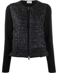Moncler Ladies Black Lined Sweater Cardigan, Brand