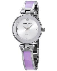 Anne Klein Silver Sunray Dial Ladies Watch - Metallic