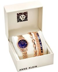 Anne Klein Navy Mother Of Pearl Crystal Dial Ladies Watch And Bracelet Set - Blue