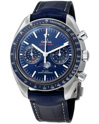 Omega Speedmaster Moon Phase Chronograph Automatic Mens Watch - Blue
