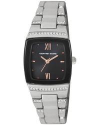 Geoffrey Beene Quartz Gunmetal Dial Ladies Watch - Metallic
