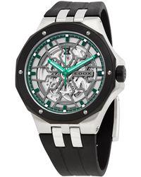 Edox Delfin Mecano Automatic Green Skeletonized Dial Watch  3nn Vb
