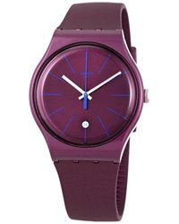 Swatch Burgundazing Quartz Ladies Watch - Red