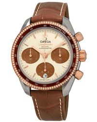 Omega Speedmaster Chronograph Stainless Steel & Rose Gold Diamond Ladies Watch - Multicolour