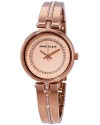 Anne Klein Crystal Rose Dial Rose Gold-tone Ladies Watch - Pink