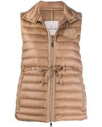 Moncler Ladies Beige Padded Belted Vest, Brand - Natural