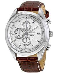 Seiko Chronograph White Dial Mens Watch - Metallic