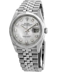 Rolex Datejust 36 Mother Of Pearl Diamond Dial Ladies Jubilee Watch - Metallic