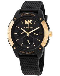 Michael Kors Women's Ryder Multifunction Black Silicone Watch