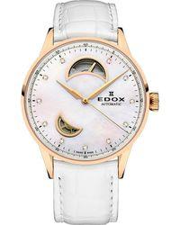 Edox Les Vauberts Open Heart White Mother Of Pearl Dial Automatic Watch  37ra Nadr - Metallic