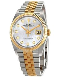 Rolex Datejust 36 Mother Of Pearl Diamond Dial Mens Stainless Steel And 18kt Yellow Gold Jubilee Watch - Metallic