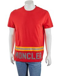 Moncler Reflective Stripe Logo T-shirt, Brand - Red