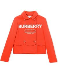 Burberry Girls Dulcie Scalloped Logo-print Double-breasted Jacket - Red