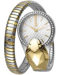Just Cavalli 26mm Glam Chic Coiled Snake Watch Steel/gold - Metallic