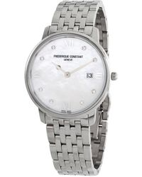 Frederique Constant Classics Slimline Quartz Diamond Ladies Watch -220mpwd3s6b - Metallic