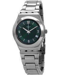 Swatch Irony Middlesteel Quartz Green Dial Ladies Watch