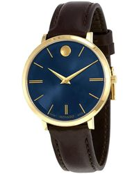 Movado - Ultra Slim Blue Sunray Dial Ladies Watch - Lyst