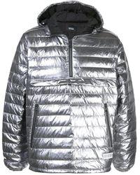 Mostly Heard Rarely Seen Mens Gunmetal Quarter Zip Puffer Jacket, Brand - Multicolor
