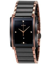 Rado Integral L Black Dial Ceramic Diamond Mens Watch - Multicolour