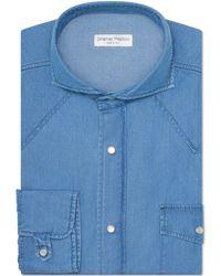 Jonathan Mezibov Stone Washed Western Shirt - Blue