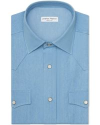 Jonathan Mezibov Bleached Denim Western Shirt - Blue