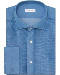 Jonathan Mezibov Stone Washed Tuxedo Shirt - Blue