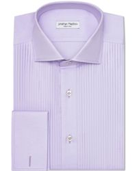 Jonathan Mezibov Royal Oxford Tuxedo Shirt - Purple