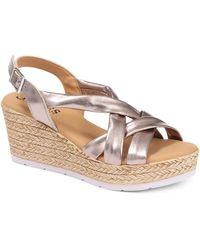 Jones Bootmaker Celine Leather Wedge Sandals - Metallic