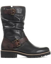 Pikolinos Mid-calf Leather Slouch Boot - Black