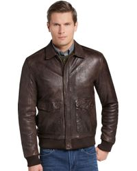 Jos. A. Bank 1905 Collection Tailored Fit Leather Bomber Jacket