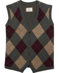 Jos. A. Bank 1905 Tailored Fit Olive Argyle Men's Sweater Vest - Multicolour