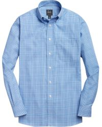Jos. A. Bank Traveler Collection Traditional Fit Button-down Collar Plaid Men's Sportshirt - Blue
