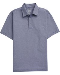 Jos. A. Bank 1905 Collection Tailored Fit Stripe Short Sleeve Men's Polo - Blue