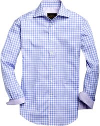 Jos. A. Bank Eserve Collection Traditional Fit Cutaway Collar Check Men's Sportshirt - Purple