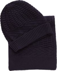 Jos. A. Bank Knit Scarf & Hat Set Clearance - Blue