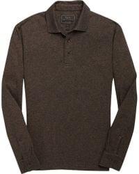 Jos. A. Bank Eserve Collection Herringbone Long Sleeve Men's Polo - Brown