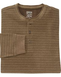 Jos. A. Bank 1905 Collection Traditional Fit Cotton Striped Henley Shirt- Big & Tall - Brown