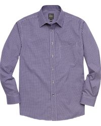 Jos. A. Bank Traveler Collection Traditional Fit Point Collar Check Men's Sportshirt - Purple