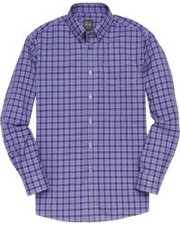 Jos. A. Bank Traveler Collection Traditional Fit Button-down Collar Plaid Men's Sportshirt - Purple