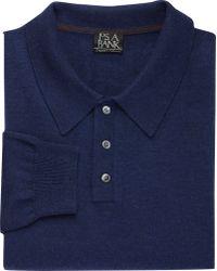 Jos. A. Bank Traveler Merino Wool Men's Polo Sweater - Big & Tall - Blue