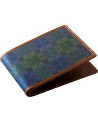 Jos. A. Bank - Jos.a.bank Green & Blue Check Bi-fold Wallet - Lyst