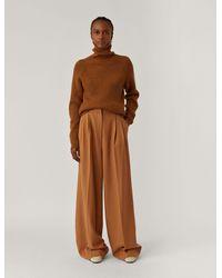 JOSEPH Pantalon Tima en flanelle de soie et de laine - Marron