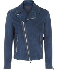 f1c00fda8 Gucci Blue Grey Nappa Leather Bomber Jacket in Blue for Men - Lyst