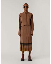 JOSEPH Saria Silk Plaid Skirt - Brown