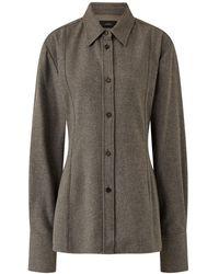 JOSEPH Baron Silk Wool Flannel Blouse - Multicolor