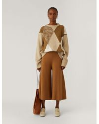 JOSEPH Culotte Trousers Boiled Wool Knit - Brown