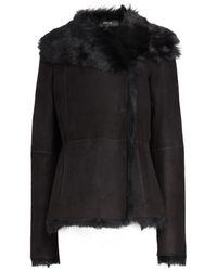 JOSEPH Toscana Anais Short Sheepkin Coat - Black