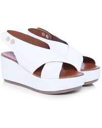 Inuovo - Leather Sling Back Wedge Sandals - Lyst